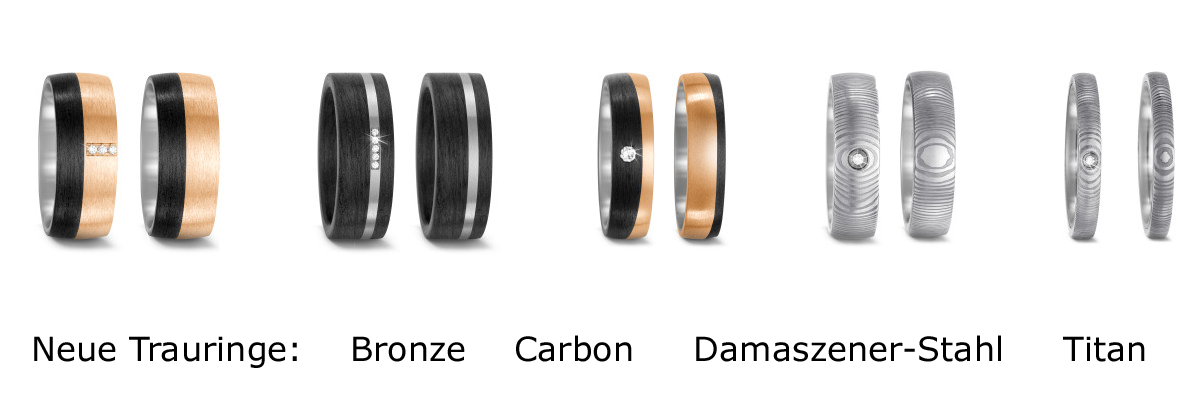 Neu im Trauringsortiment: Bronze & Carbon